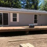 mobile home during deck installation
